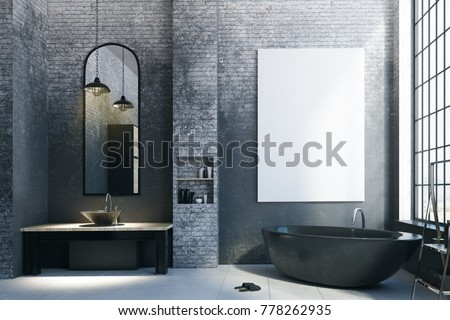 Modern loft bathroom interior with appliances, city view and empty billboard on concrete wall. Mock up, 3D Rendering