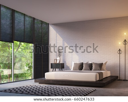 Modern loft bedroom with nature view 3d rendering image Furnished with Black wood furniture has concrete floor,white brick walls and large windows look out to nature. #660247633
