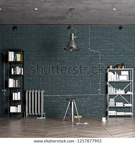 modern  loft interior. 3d design rendering