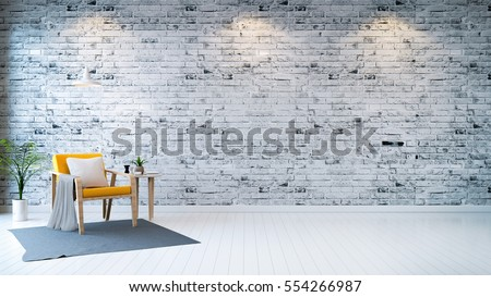 Modern loft interior  ,living room,  white wood flooring, yellow armchair with table and white lamp on bright gray bricks wall  background , 3d render