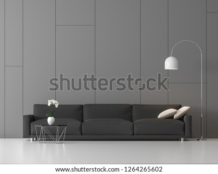 Modern loft living 3d render,There are white floor, gray wall with random groove,furnished with dark gray fabric sofa,Decorate with flower pot and white lamp.