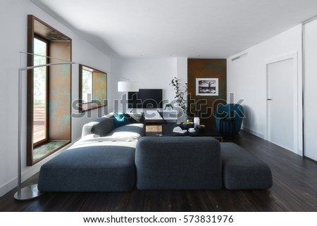 Modern loft living room interior with large comfortable modular lounge suite, hardwood floorboards and wooden windows viewed with receding perspective, 3d rendering #573831976