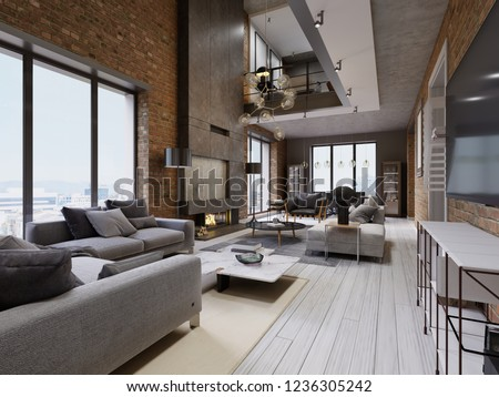 Modern loft living room with high ceiling, sofa, red brick wall, white parquet, upholstery sofa and furniture, design accessories, dining table with chairs. 3d rendering