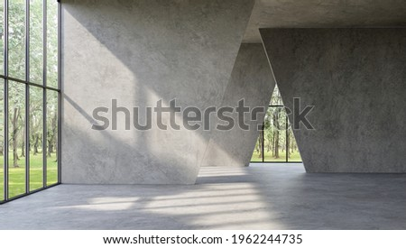 Modern loft style empty space interior 3d render,There are polished concrete floor ,wall and ceiling,There are large window look out to see the nature view,sunlight shining into the room. Foto d'archivio ©