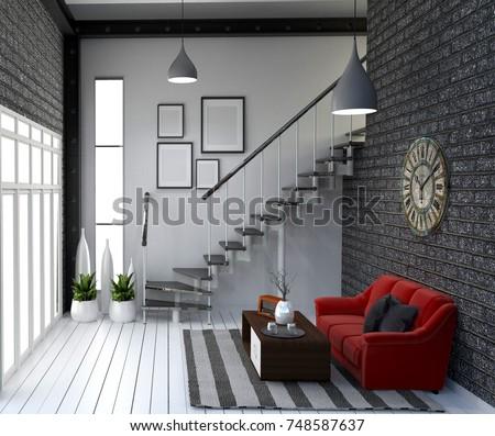 Modern loft style living interior design. 3d rendering #748587637
