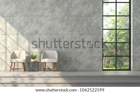Modern loft style living room 3d render.There are polished concrete wall with groove,concrete tile floor,furnished with beige fabric chair,There are black frame window overlooking to nature