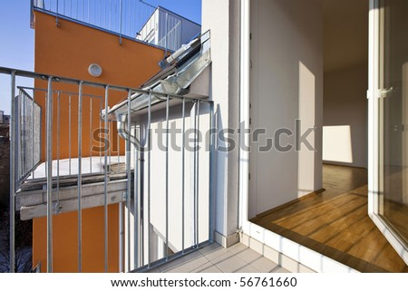 Modern loft with opened terrace door