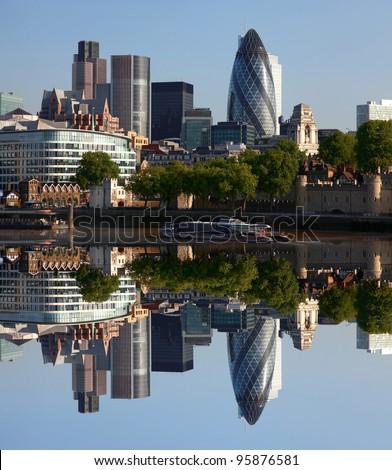 Modern London cityscape with boat, LONDON, UK