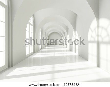 Modern long corridor with big windows