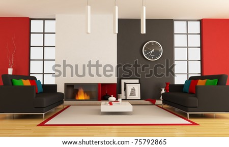 modern lounge with two couch and minimalist fireplace - rendering - the picture on wall is a my photo ,London 2008