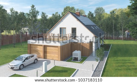 Modern low energy suburban house with electric car parked in front retirement