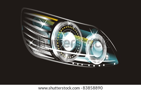 modern luminescent lamp design of a  car - stock photo