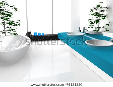 Modern luxurious bathroom with contemporary design and furniture, colored in black, blue and white, 3d rendering.
