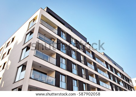 Modern, Luxury Apartment Building #587902058
