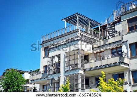 Modern, Luxury Apartment Building. Modern apartment house #665743564