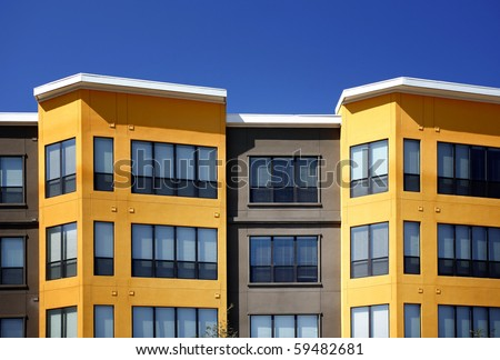 Modern Luxury apartments (condo) in bright sunny day