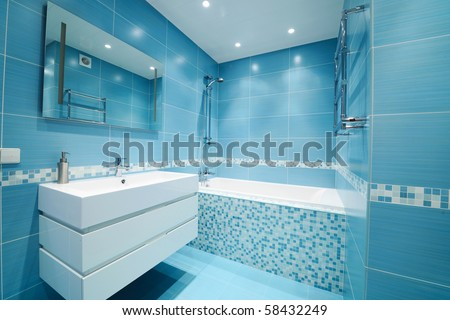 Modern luxury bathroom blue interior No brandnames or copyright objects.