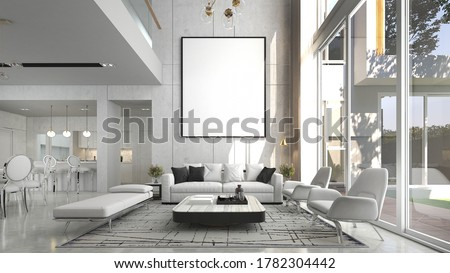 Modern luxury beautiful mock up scene of living room interior design and pattern wall background and picture frame and dining room and pantry area/3D rendering