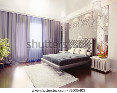 Modern Luxury Bedroom Interior (3d Rendering) Stock Pho