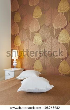 Modern luxury bedroom with wallpaper /  Hotel Room