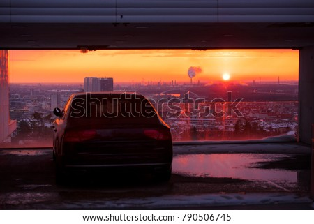 Modern luxury car and sunset sky in background. Successful, business people. Motivation photo. Luxury, rich, happy life. #790506745