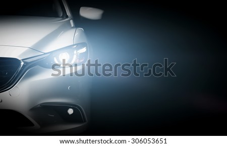 Modern luxury car close-up banner background. Concept of expensive, sports auto. #306053651
