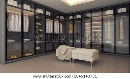Modern luxury dressing room interior, gray and black wardrobe design ,walk - in closet ,3d rendering