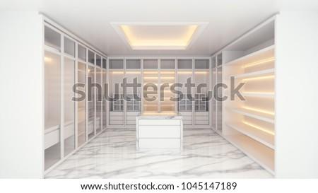 Modern luxury dressing room interior, walk -in closet white wardrobe on marble floor ,3d rendering