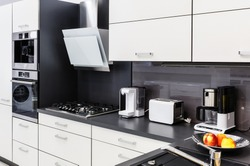 Modern luxury hi-tek black and white kitchen interior, clean design