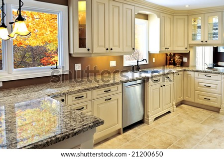 Modern luxury kitchen interior with granite countertop