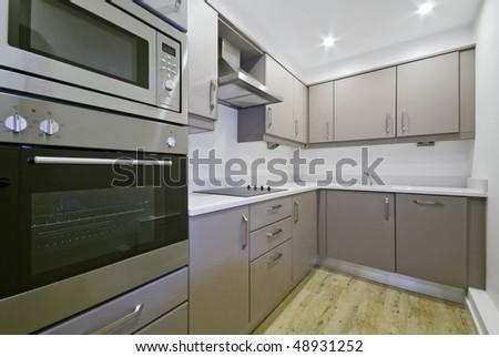 modern luxury kitchen with hard wood floor