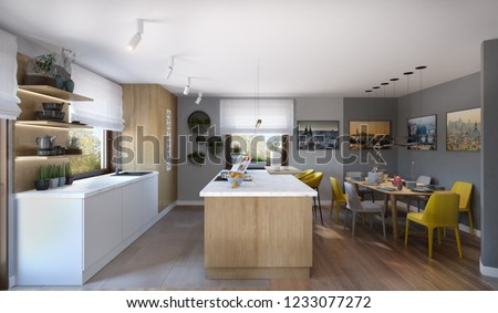 Modern luxury kitchen with white cupboards, chalk board, 3d illustration, 3d rendering, 300 dpi