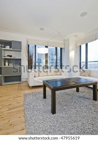 modern luxury living room with designer furniture