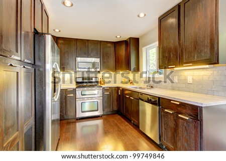 Modern luxury new dark brown and white kitchen with stainless steal appliances.