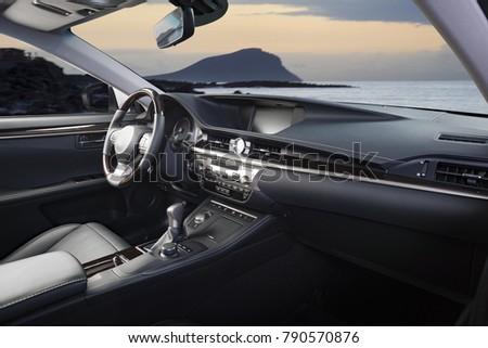Modern Luxury Prestige Car Interior Dashboard Steering Wheel Red