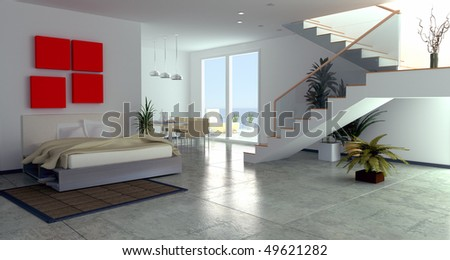 modern luxury  room interior (3D rendering) - stock photo
