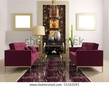 modern luxury room with classic furniture - stock photo