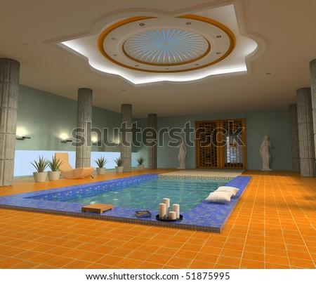 modern luxury spa interior ( 3d rendering )