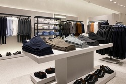 Modern luxury store with mens clothing inside shopping center