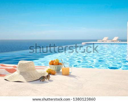modern luxury summer villa with infinity pool. 3D-Illustration #1380123860