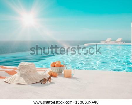 modern luxury summer villa with infinity pool. 3D-Illustration #1380309440