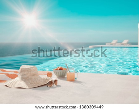modern luxury summer villa with infinity pool. 3D-Illustration #1380309449