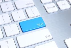 modern mac style keyboard, enter button is blue and written