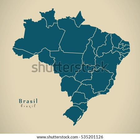 Modern Map - Brasil with districts BR Brazil Illustration