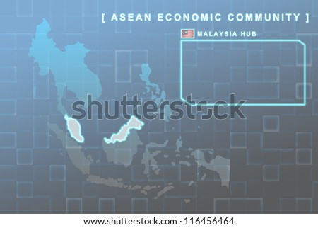 Modern map of South East Asia countries that will be member of AEC with Malaysia flag symbol in background