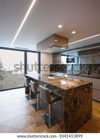Modern marble kitchen with island. Nobody inside #1041413899