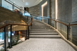 Modern marble stairs for luxury interior.
