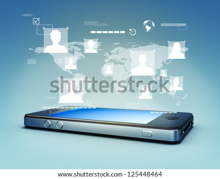 Modern media touch screen technology, smartphone connecting information to the world concept.