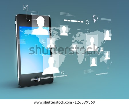 Modern media touch screen technology, smartphone connecting information to the world concept.Stand up version. Photo realistic 3d image scene