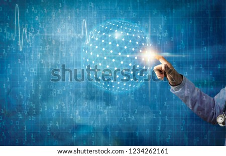 modern medical with global connection and communication concept, women doctor holding hand and touching on digital screen or hologram digital medical and futuristic medical concept
